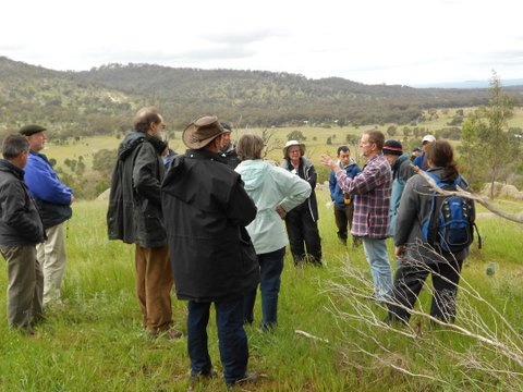 Landowner, Dennis, addresses his group